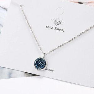 Jewelry - *NEW 925 Sterling Silver Blue Crystal Necklace